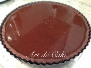 Chocolate tart ready to go into the oven