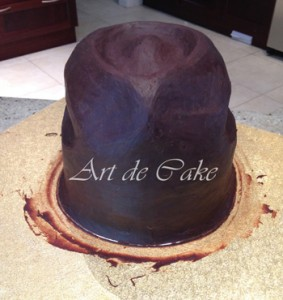 Cowboy hat cake carved and ganached front view
