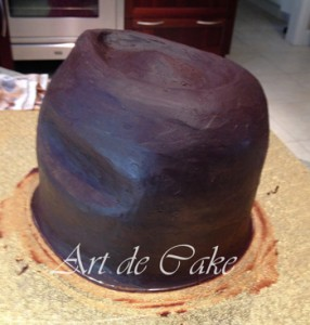 Cowboy hat cake carved and ganached