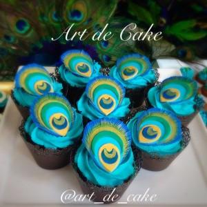 Peaacock cupcakes
